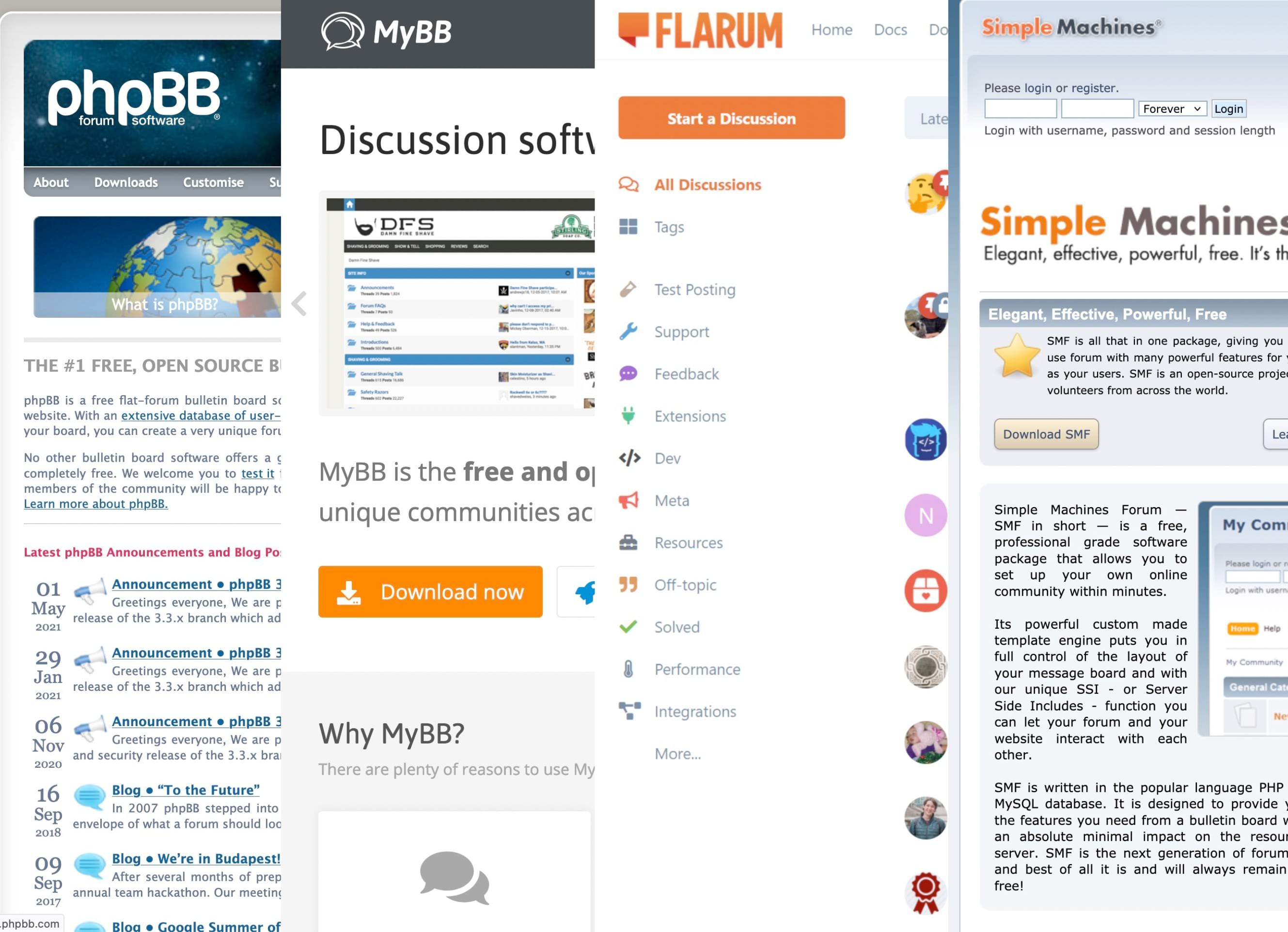 Compatibilidad con software para foros, phpBB, vBulletin, Flarum